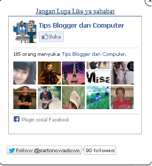 cara membuat like box facebook dan twiter di blog