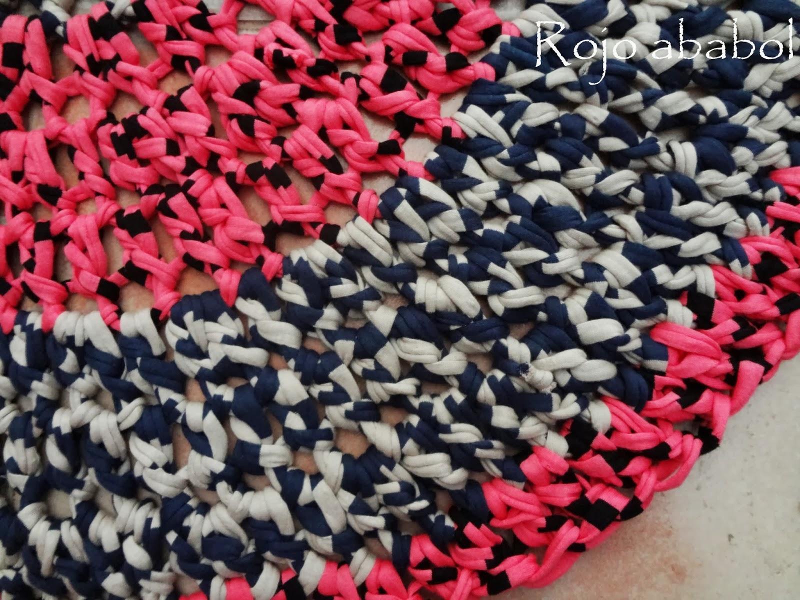 Rojo ababol alfombra de trapillo - Alfombra de trapillo cuadrada ...
