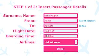 Insert Passenger Details