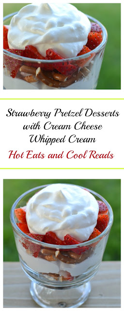 A perfect no bake summertime dessert that everyone loves! Ready in less than 10 minutes! Individual Strawberry Pretzel Desserts with Cream Cheese Whipped Cream from Hot Eats and Cool Reads!
