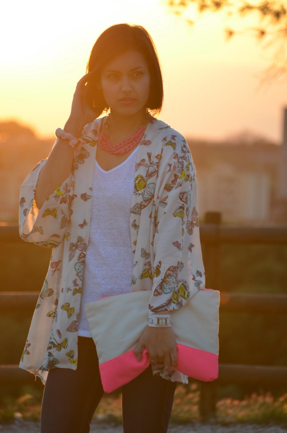 look kimono de mariposas