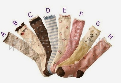 children's socks embroidered girly motif