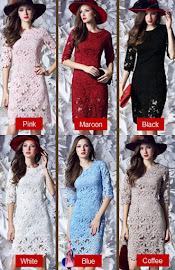 6-Color Three Quarter Sleeve Classic Elegant OL Lace Dress