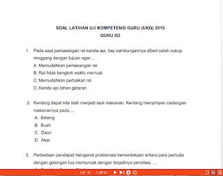 Latihan Soal UKG 2015 Guru Sekolah Dasar ( SD ) Paket 1