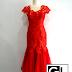 Jual Sewa Gaun Pesta Bandung - Gaun Pesta Panjang Duyung Merah Brokat Tile