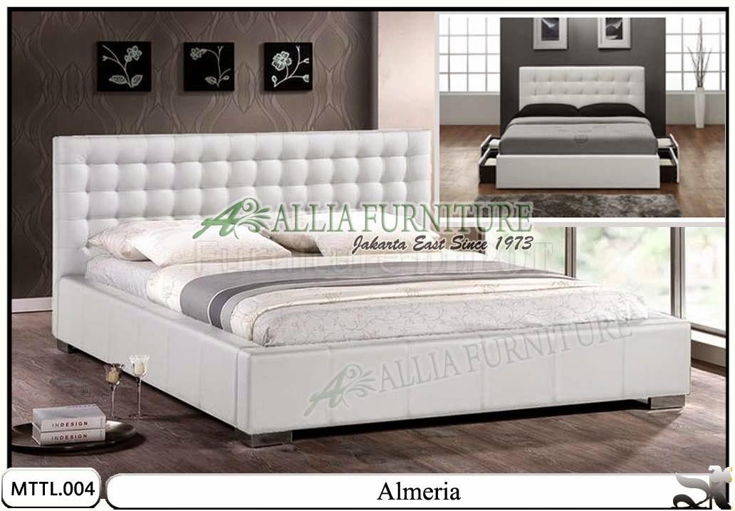 Tempat tidur laci model minimalis kulit almeria