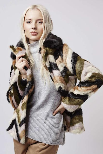 stripe faux fur coat, topshop stripe fur coat,