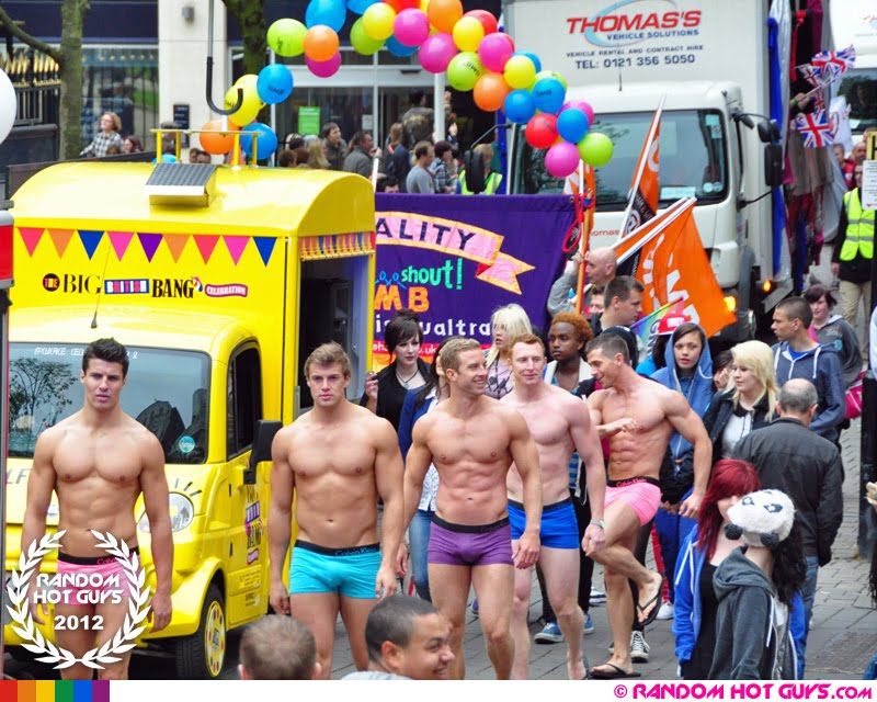 Muscle guys in gay pride