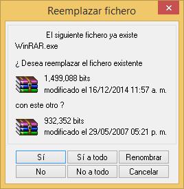 reemplazo de ficheros
