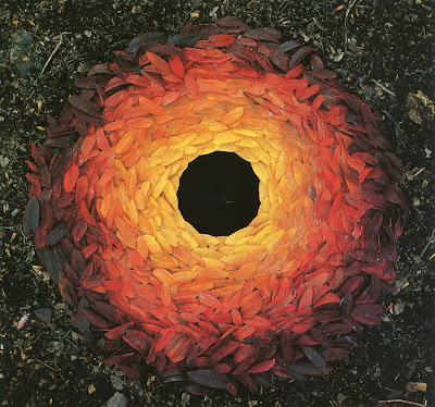 Land art sculpture by Andy Goldsworthy leaves