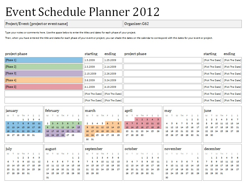 Party Planner Schedule  Events Planning Template
