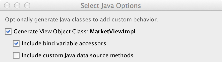 Select Java Options Dialog