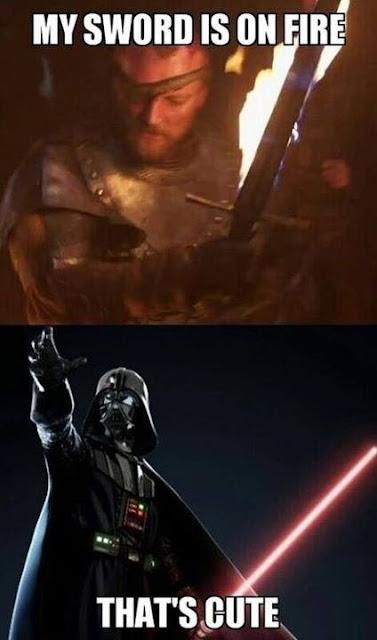 beric espada fuego star wars darth vader sable láser - Juego de Tronos en los siete reinos