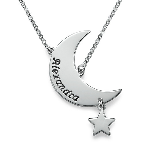 Engraved Moon Necklace at MyNameNecklace