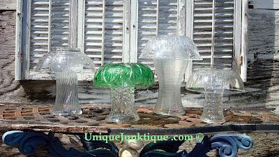 vintage glass mushroom yard art