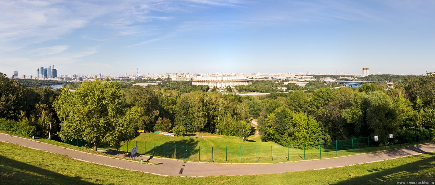 Вид на центр Москвы с обзорной площадки Воробьёвых гор | Panoramic view of Moscow from the observation platform on the Sparrow Hills