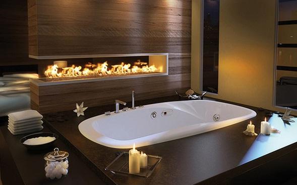 decora y disena: Bañera de Lujo con Chimenea Moderna para el ...