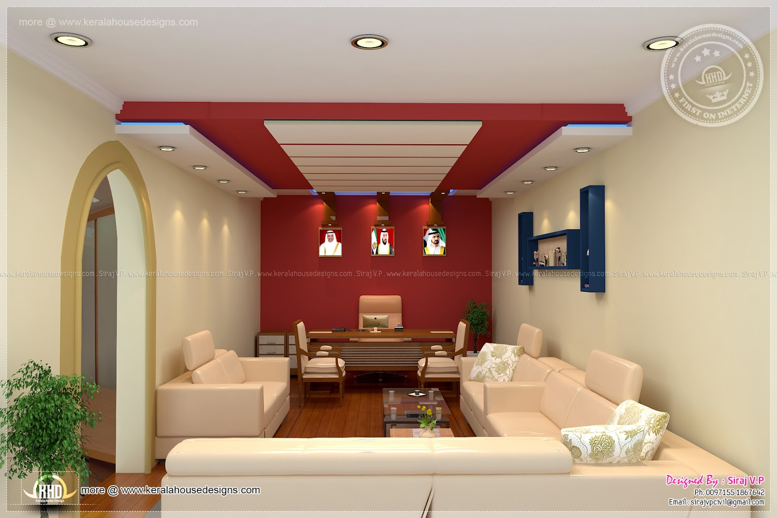 Home office interior design by siraj v p kerala home for House hall interior design