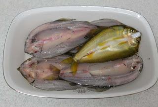 鮎の開きを塩水に漬ける
