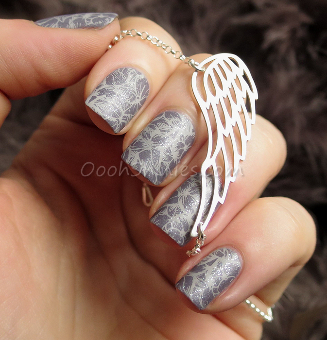 A England Wuthering Heights with BornPrettyStore Ya Qin An #16, UberChic Beauty plate 4-01, Essence Glitter top coat and Dance Legend Top Satin, Onecklace silver wing bracelet