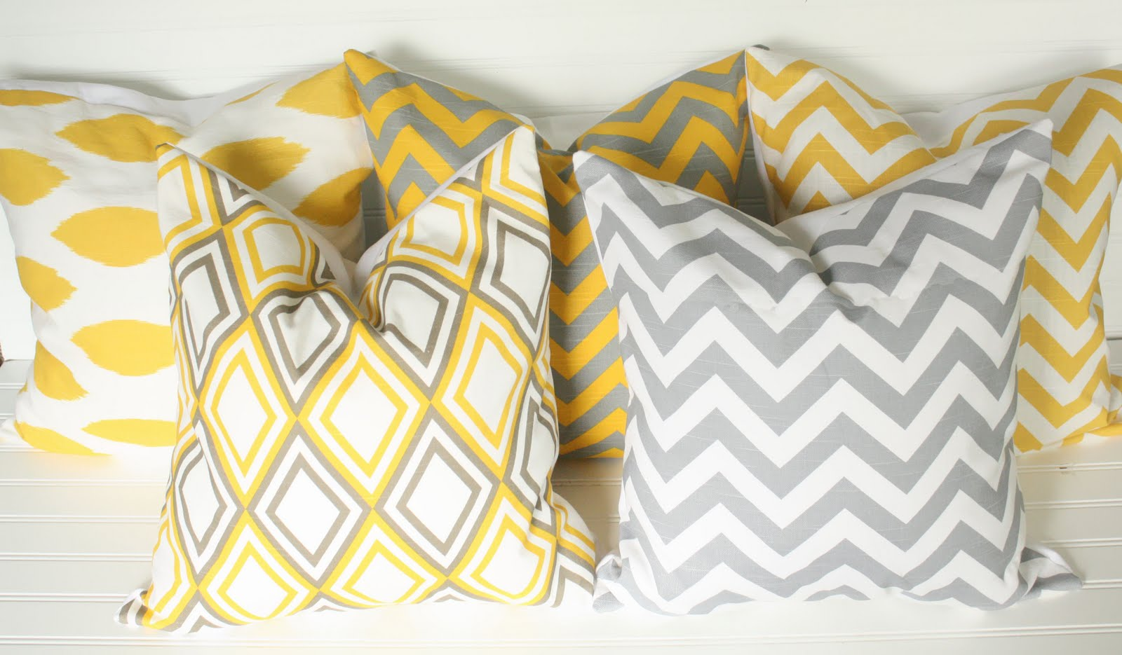 Yellow And Grey Throw Pillow Covers : Gray Chain Link & Yellow Chevron Decorative Pillow Cover