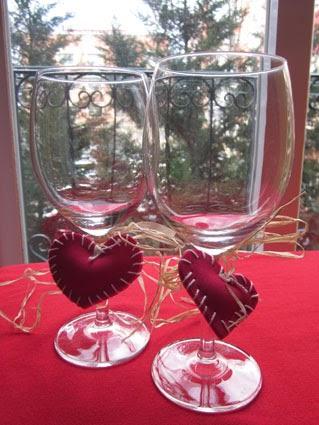 Decoración copas San Valentín