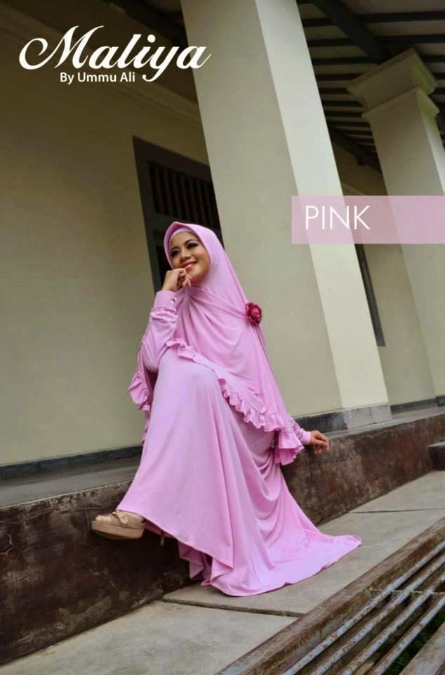 gamis syari warna pink