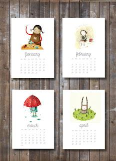 printable calendar 2013, illustrations, kid prints,children art, downloadable, downloadable pdf