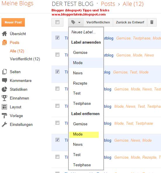 Labels Kategorie ändern Blogger Blogspot