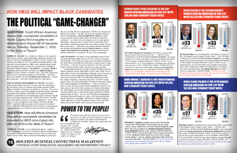 "PAGES 16 AND 17 - HOUSTON BUSINESS CONNECTIONS MAGAZINE© ""STRATEGIC VOTER"" MOBILIZATION CAMPAIGN"