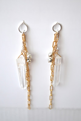 quartz earrings, summer bucket jewelry, handmade jewelry, long gold earrings, elegant earrings