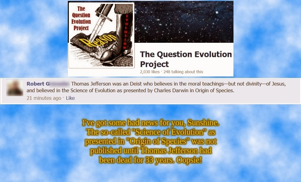 atheist, The Question Evolution Project, evolution, Thomas Jefferson, Charles Darwin