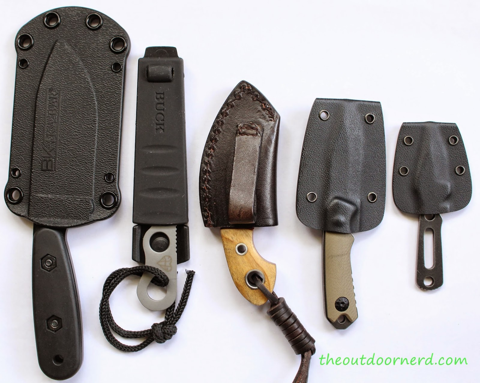 From Left: Ka-Bar Becker BK14, Buck Smidgen, Boker Gnome, MTech MT-20-30, Boker Magnum Arrowhead