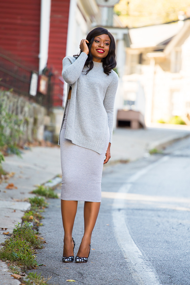 All gray fall look, Shades of gray, Missguided midi skirt, www.jadore-fashion.com