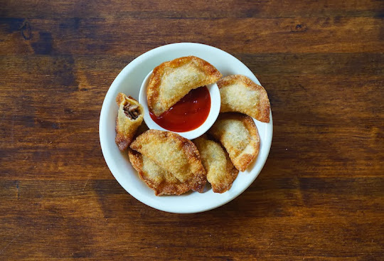 fried beef and cheese dumplings