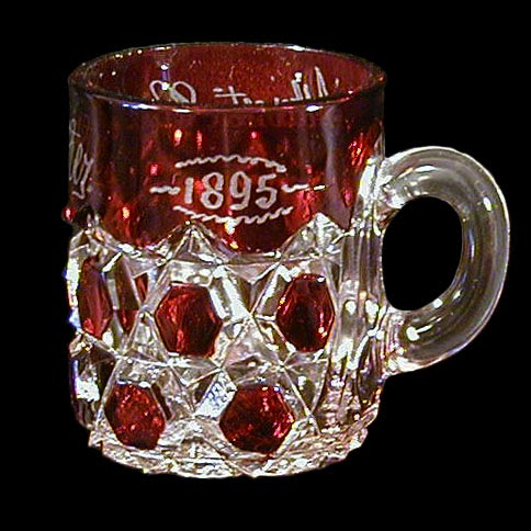Antique EAPG Ruby Stained Big Button Mug