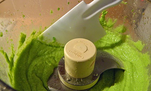 Pureed Favas and Garlic in Food Processor