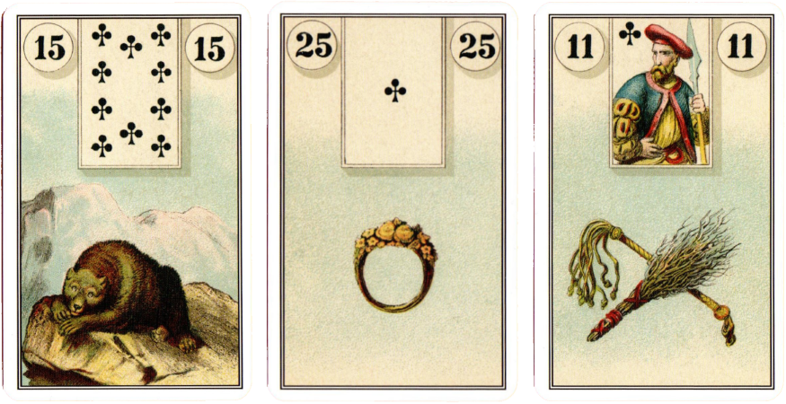 French Cartomancy Cards, bear, ring, whip