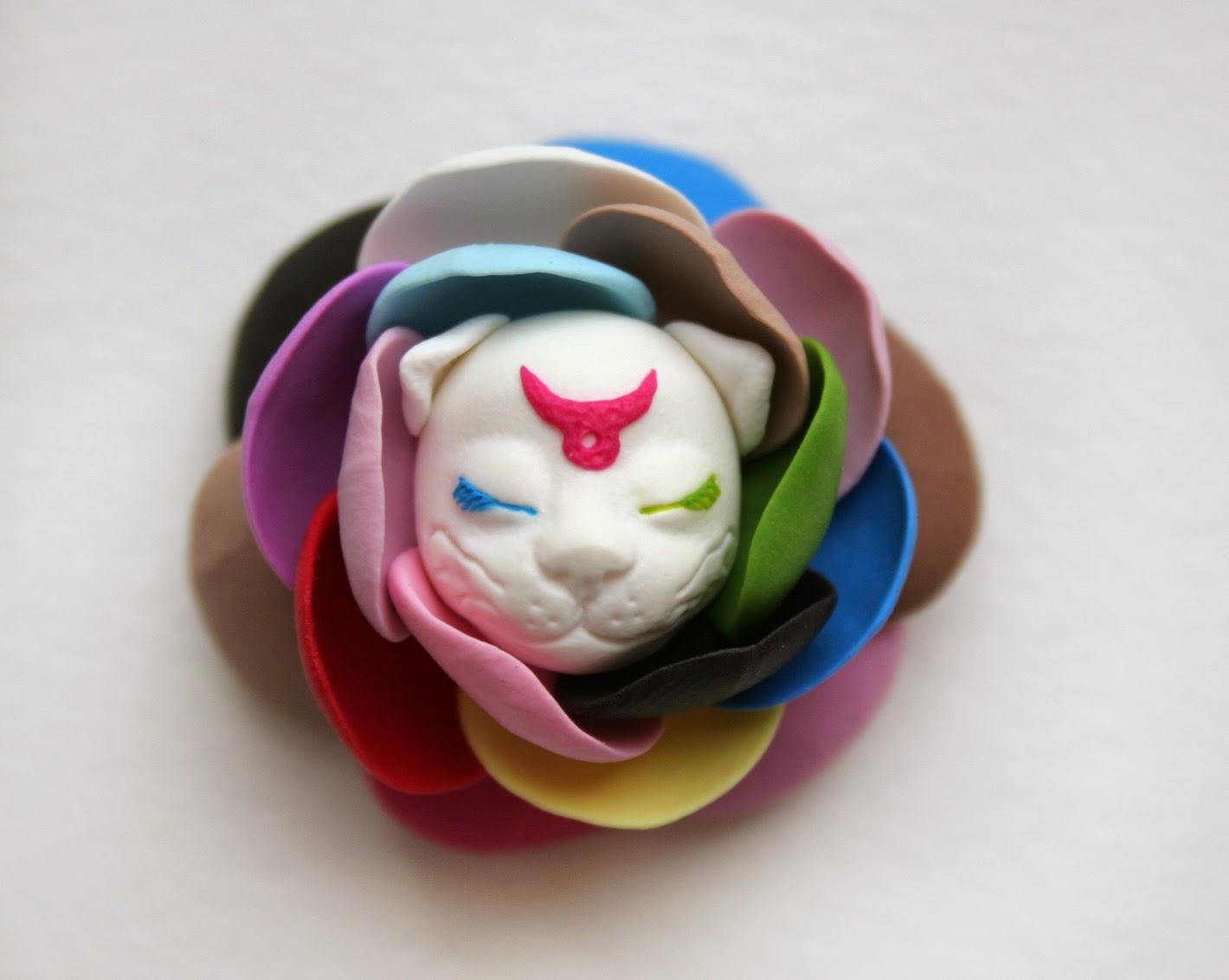 Cat Fairy Flower Jewelry Brooch