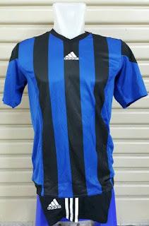 gamabr desain terbaru musim depan jersey grade ori Setelan futsal Adidas Striped 2016 hitam biru di enkosa sprt