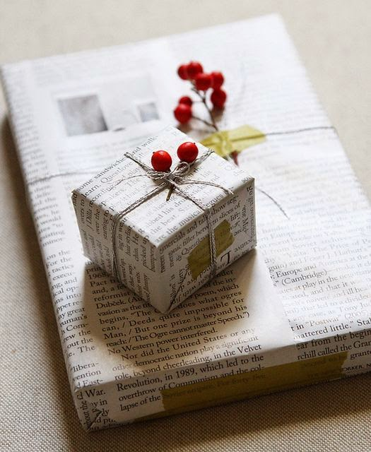 repurposed newsprint gift wrap