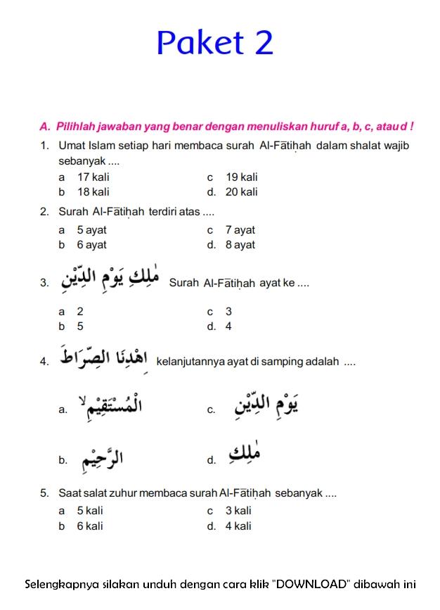 Download Soal Uts Ganjil Pendidikan Agama Islam Kelas 4