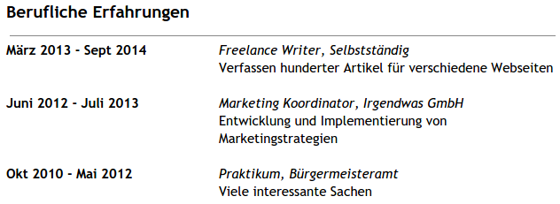 Experience on a German resume