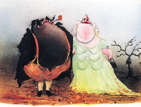 Napoleón y su señora ilustrados por Ralph Steadman para Rebelión en la granja - Cine de Escritor