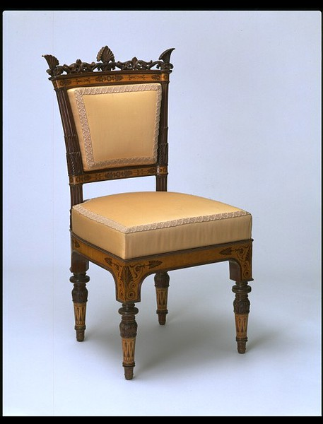 Palagi, Filippo Pelagio, Chair, Turin, Italy, 1838-1840 (made), Maple and mahogany veneer, on a mahogany carcase, Victoria & Albert Museum, London