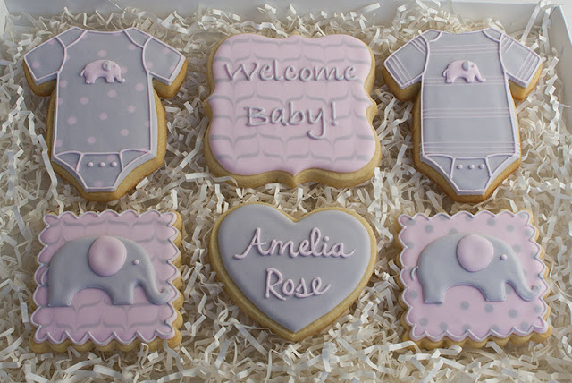 baby girl elephant cookies