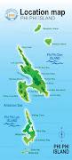 上面係Phi Phi Island地圖,Phi Phi 島分為大PP(Phi Phi Don)同小PP(Phi Phi . (phi phi island map)