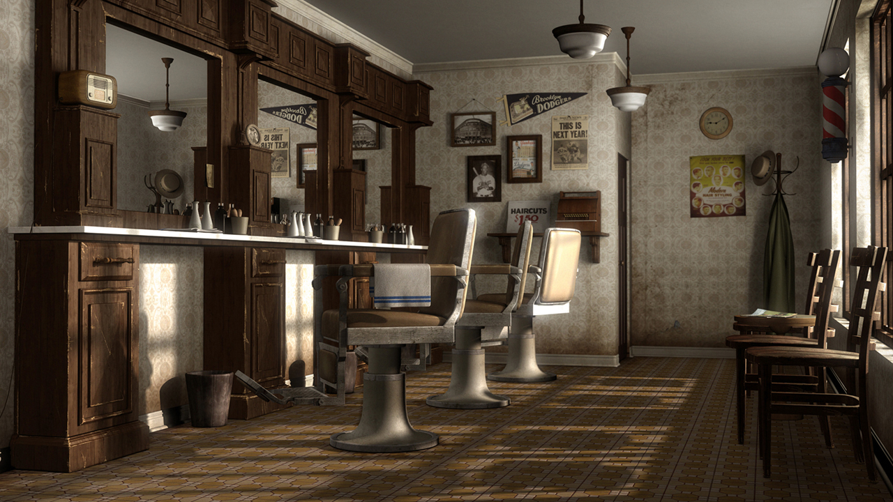 anthony ragusa cg artist past work retro barbershop. Black Bedroom Furniture Sets. Home Design Ideas