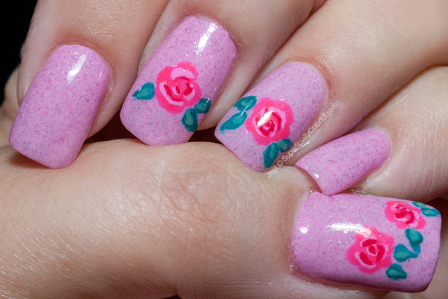 Dandy Nails Flamingo Kisses freehand roses