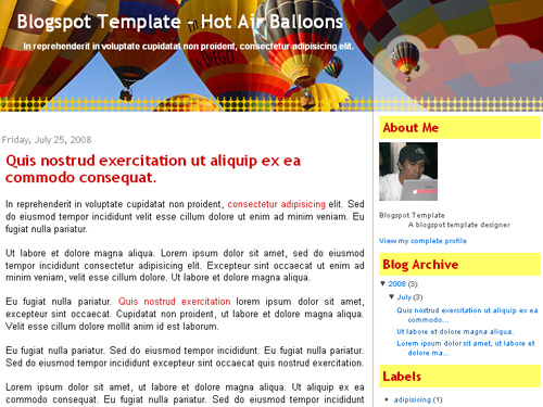 New Blogger Template: Hot Air Balloons